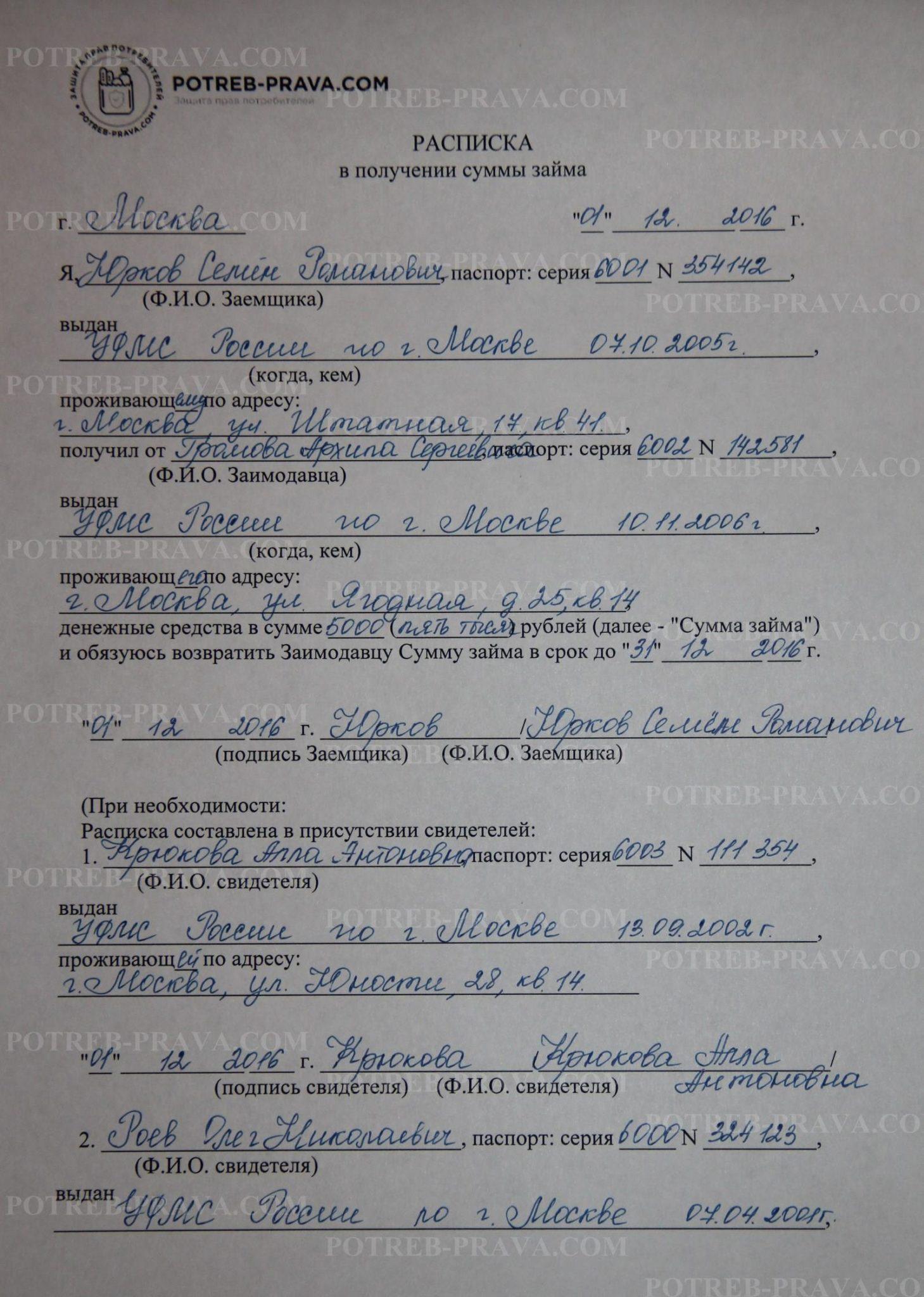 Пример заполнения расписки в получении суммы займа