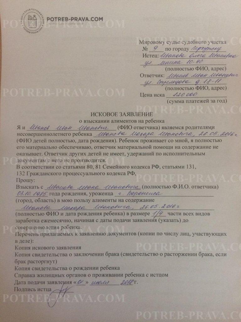 Пример заполнения искового заявления о взыскании алиментов на ребенка