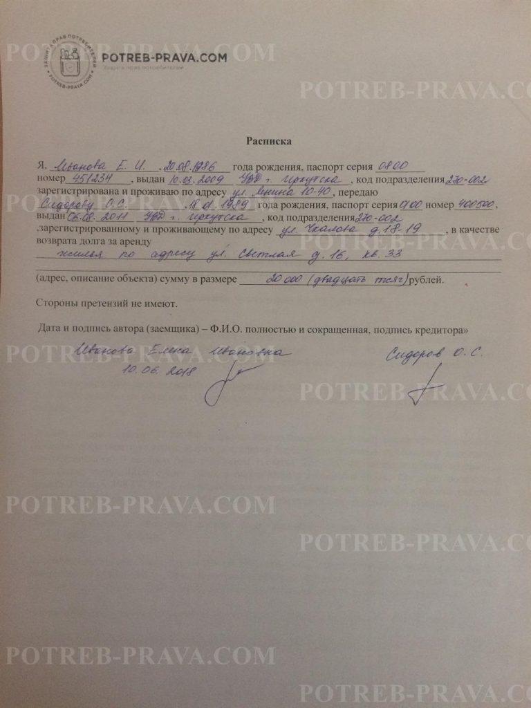 Пример заполнения расписки о возврате денежных средств за аренду квартиры