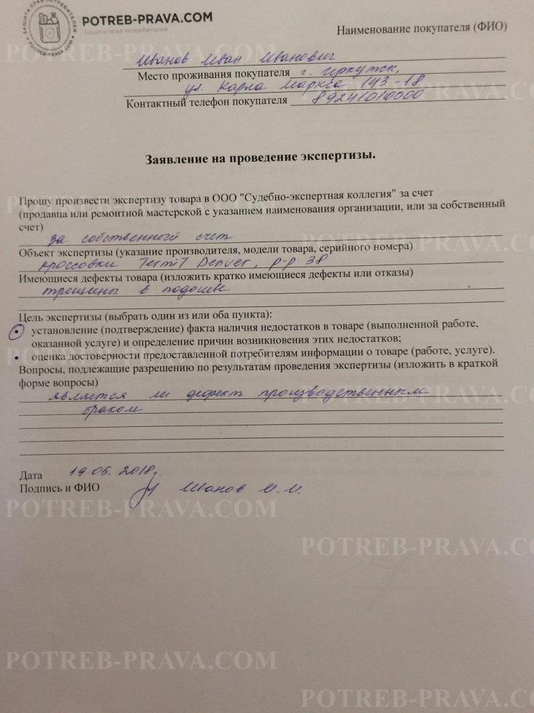 Пример заполнения заявления на проведение экспертизы при самостоятельном обращении к экспертам