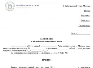 Заявление в суд о выдаче исполнительного листа инструкция по исполнительным листам