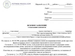 Образец искового заявления о взыскании алиментов в твердой денежной сумме