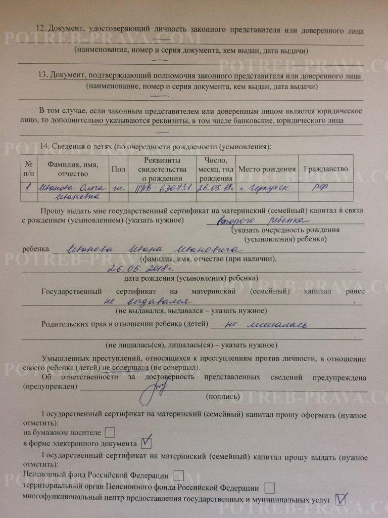 Пример заполнения заявления на выдачу сертификата на материнский капитал (2)