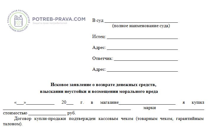 Изображение - Возврат товара изготовленного по индивидуальному заказу blank-iskovogo-zayavleniya-o-vozvrate-denezhnyh-sredstv-za-nekachestvennyj-tovar