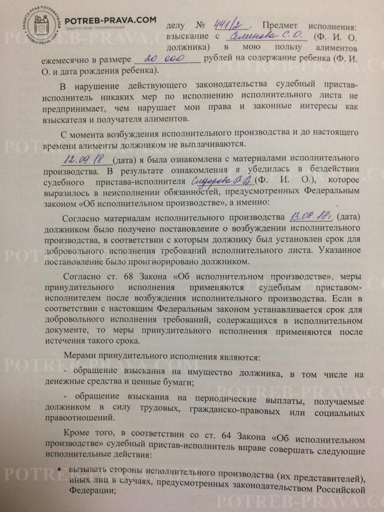 Пример заполнения административногоискового заявления об оспаривании бездействия судебного пристава-исполнителя (2)
