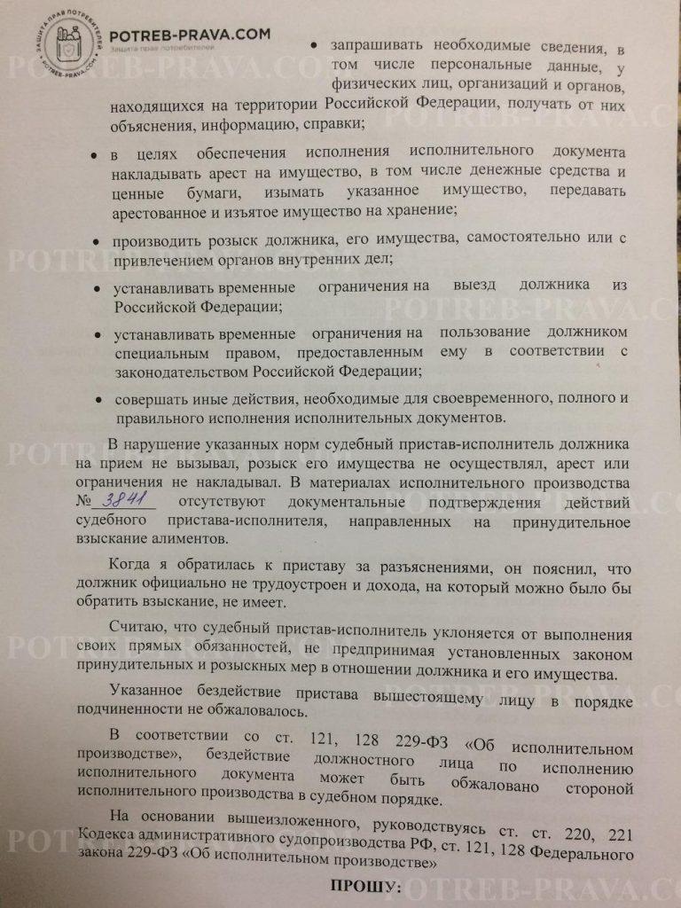 Пример заполнения административногоискового заявления об оспаривании бездействия судебного пристава-исполнителя (3)
