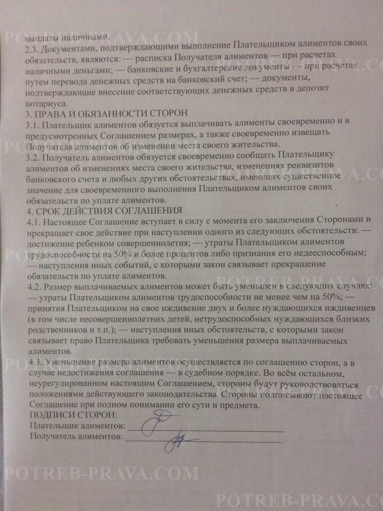 Пример заполнения соглашения об уплате алиментов (2)