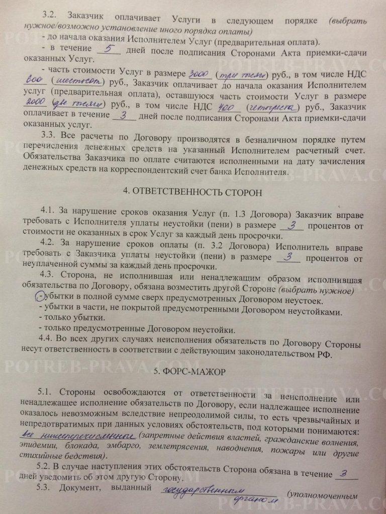 Пример заполнения типового договора на оказание услуг (2)
