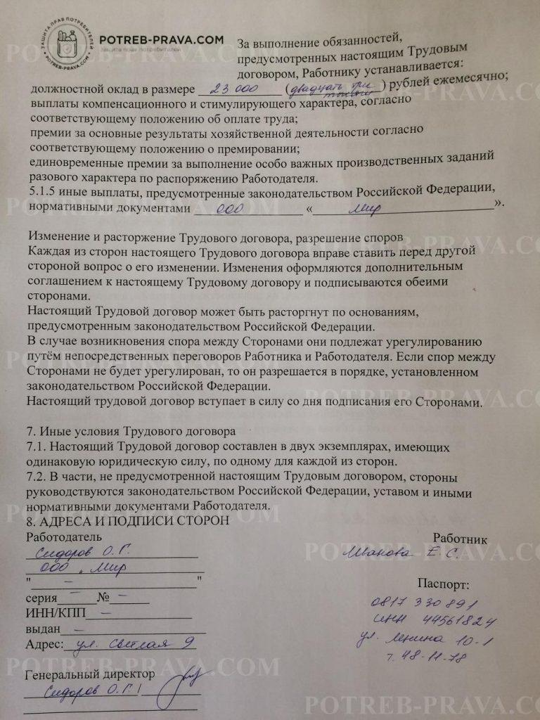 Пример заполнения трудового договора (5)