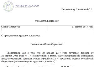 Увольнение истек срок трудового договора