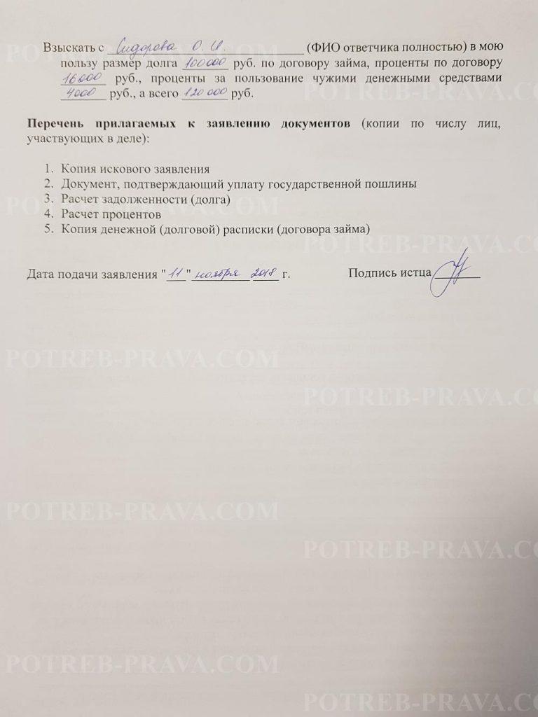 Пример заполнения иска в суд о взыскании денежных средств по договору займа (1)