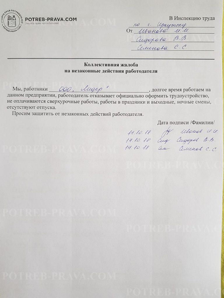 Пример заполнения коллективной жалобы на сотрудника организации в Трудовую инспекцию