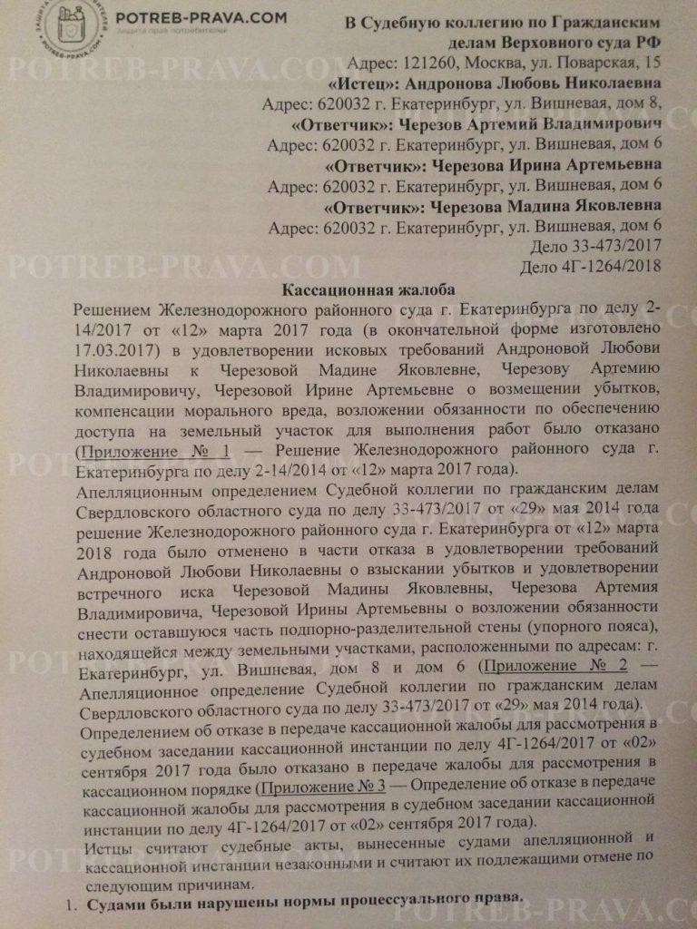 Пример заполнения жалобы на определение об отказе в передаче кассационной жалобы в Верховный суд РФ (1)