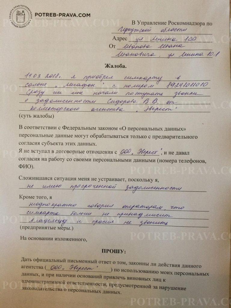 Пример заполнения жалобы в Роскомнадзор на использование персональных данных (1)
