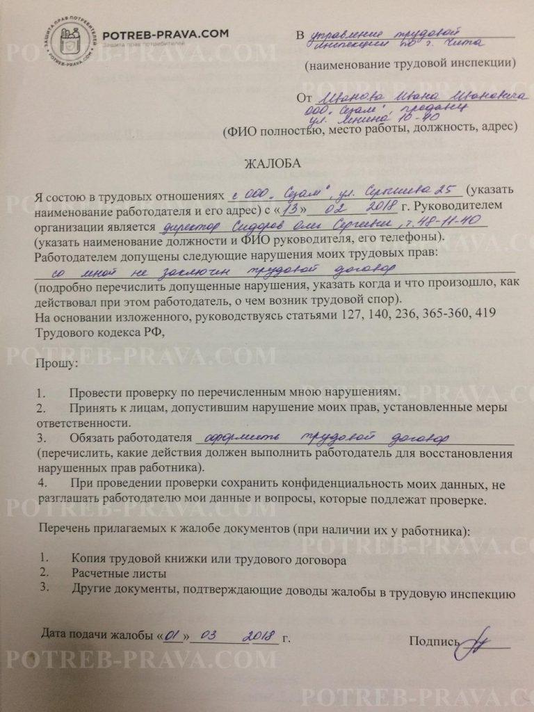 Пример заполнения жалобы в Трудовую инспекцию о нарушении трудовых прав