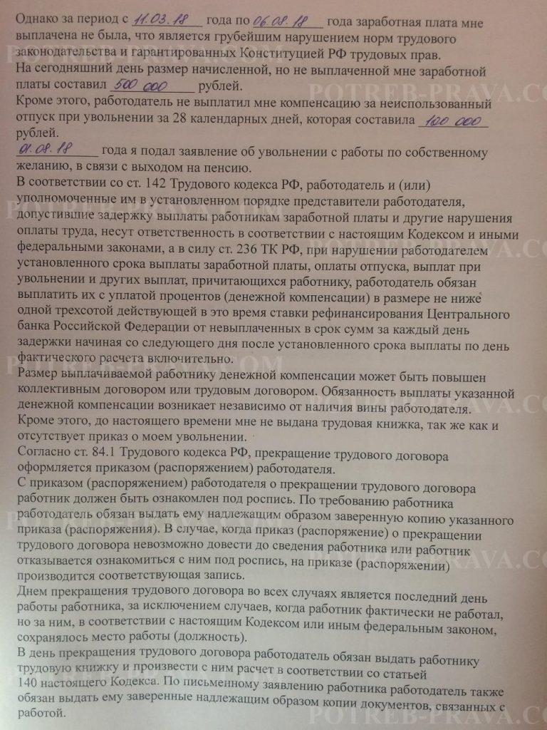 Пример заполнения жалобы в Трудовую инспекцию о невыплате заработной платы при увольнении (2)