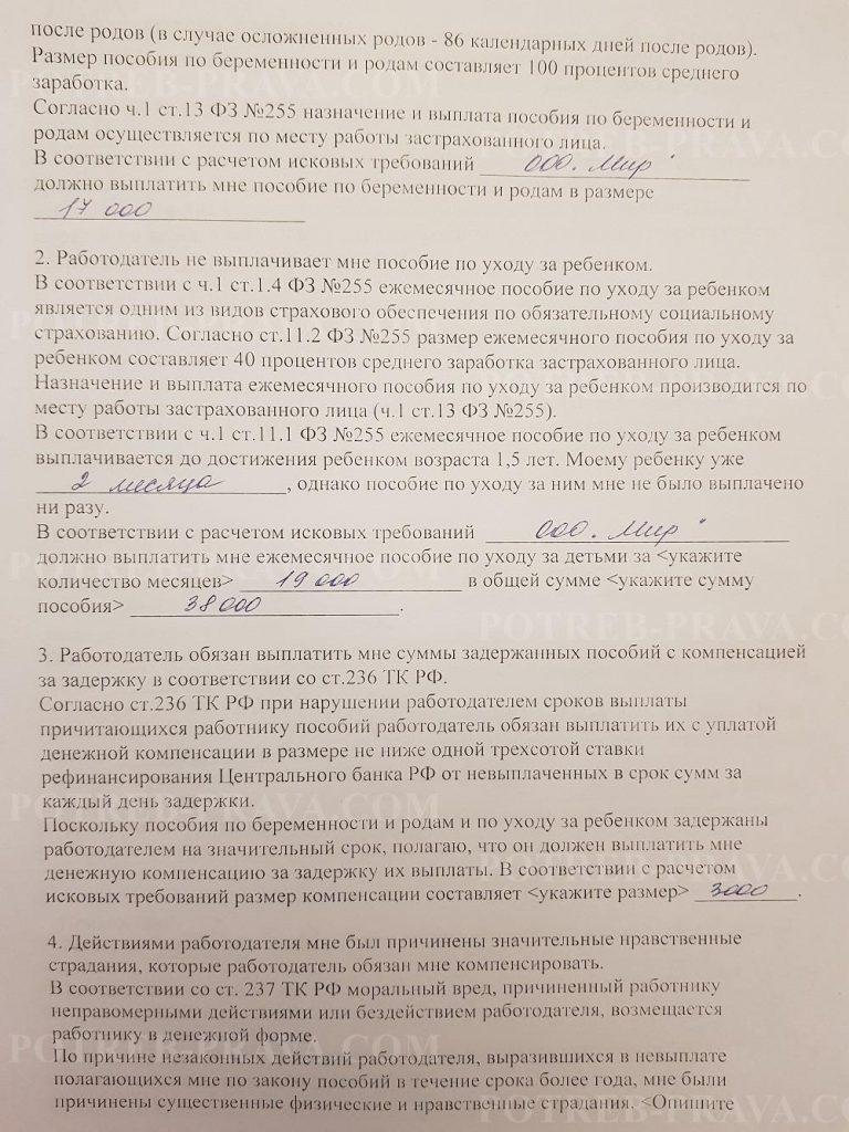 Пример заполнения иска в суд о взыскании пособия по беременности и родам (1)