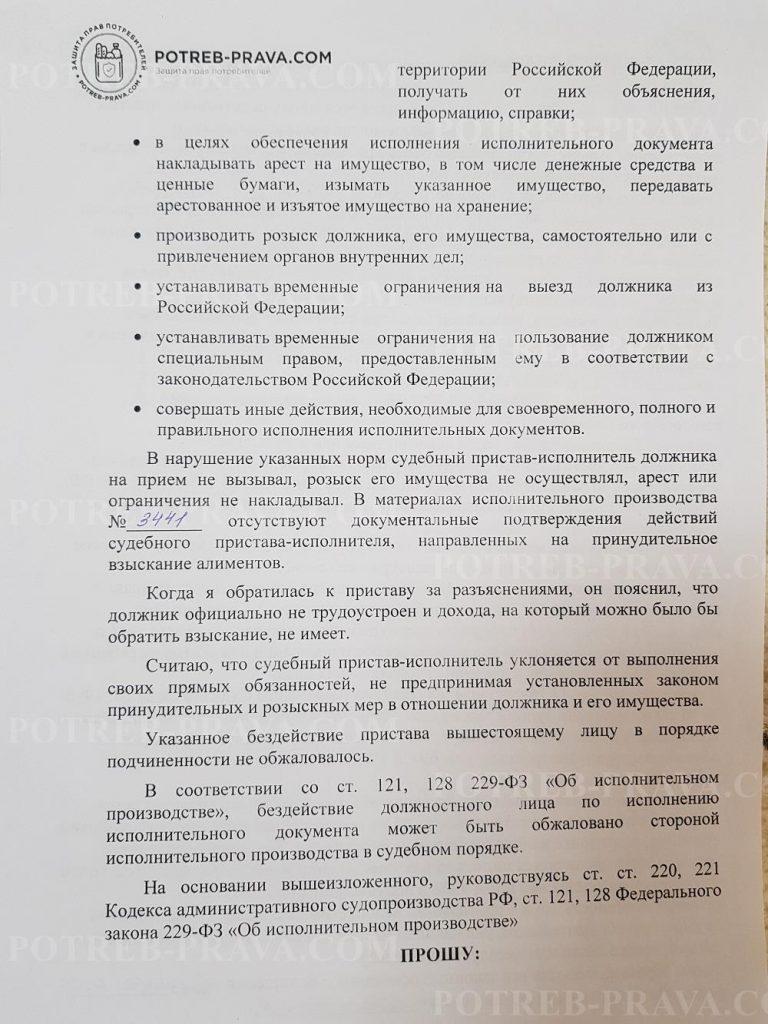 Пример заполнения иска в суд на судебного пристава
