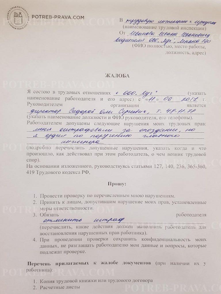 Пример заполнения жалобы на работодателя в трудовую инспекцию (штрафы) (1)