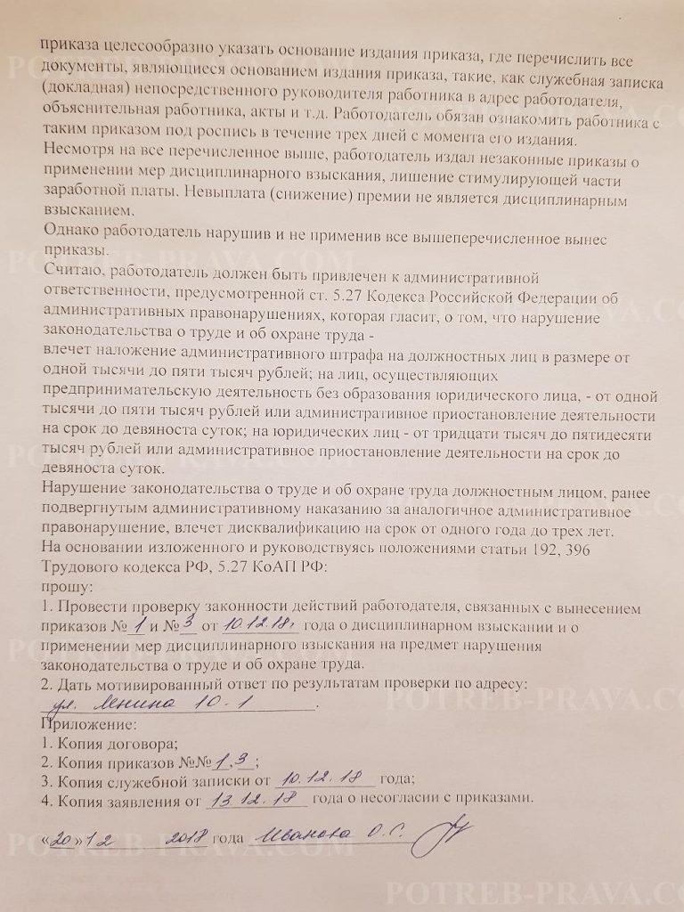 Пример заполнения жалобы в государственную инспекцию труда на наложения дисциплинарного взыскания (1)