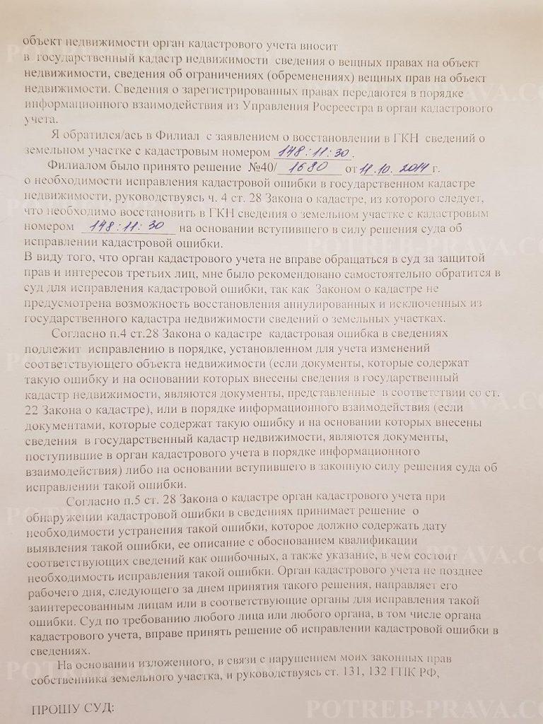 Пример заполнения иска в суд об устранении кадастровой ошибки (1)
