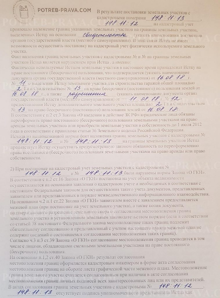 Пример заполнения иска в суд по наложению границ участков (1)