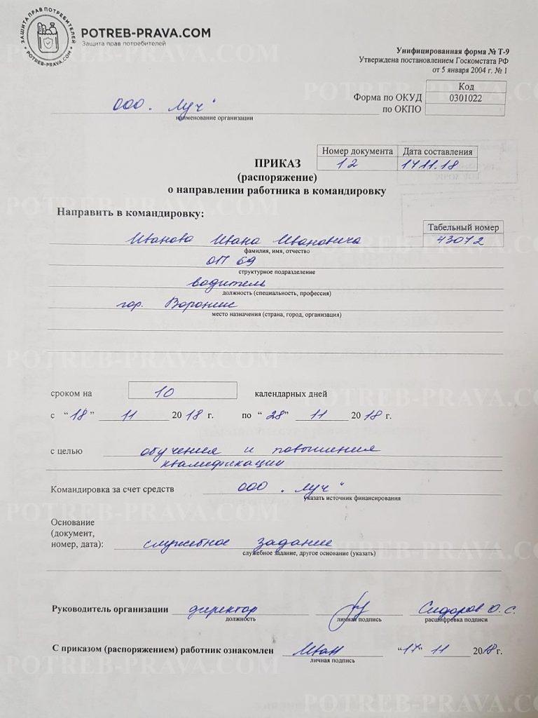 Пример заполнения приказа о направлении работника в командировку (форма Т-9)