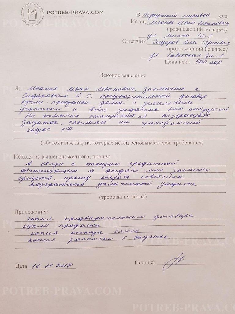Пример заполнения типового иска в суд (участок земли)