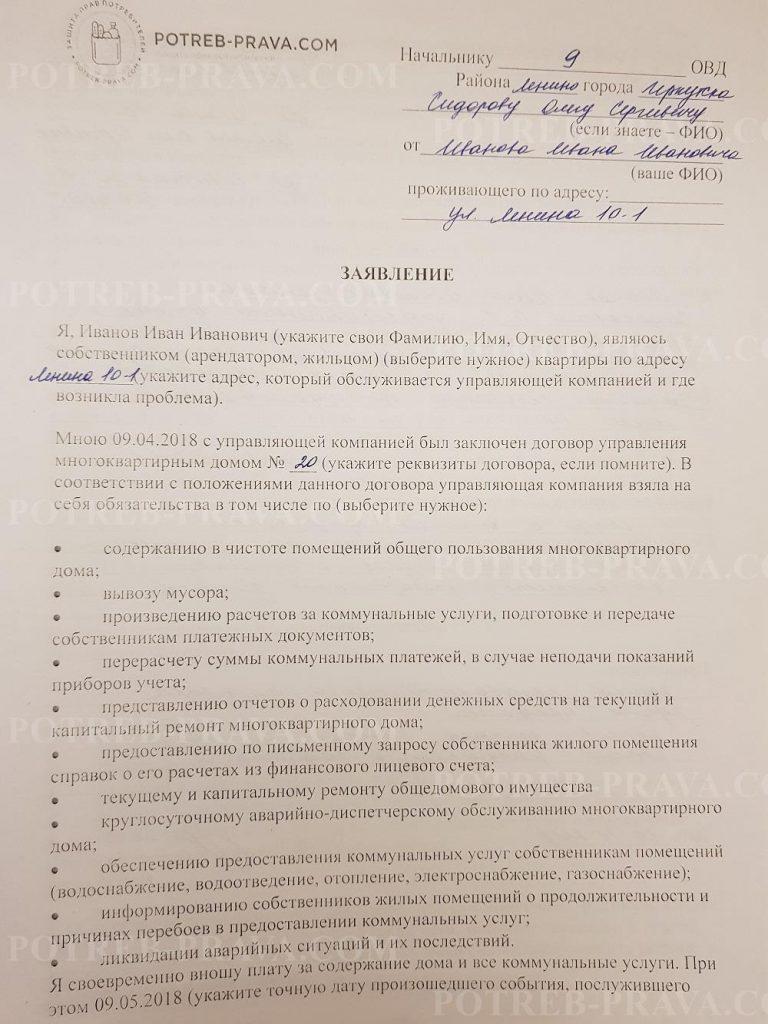 Пример заполнения заявления на УК в полицию (1)