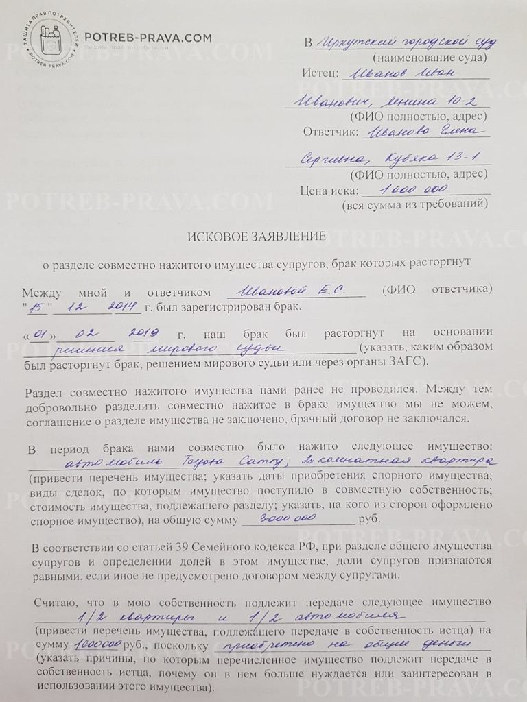 Пример заполнения иска в суд о разделе совместно нажитого имущества супругов (1)