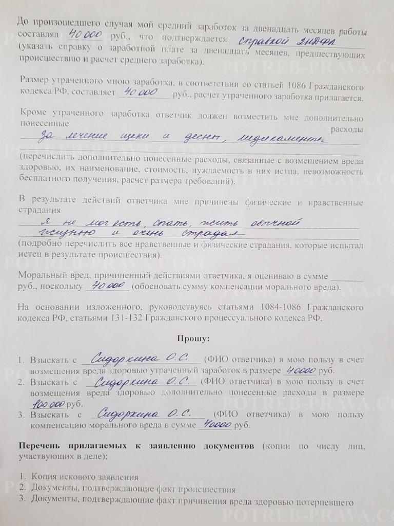 Пример заполнения иска в суд о возмещении вреда здоровью (1)