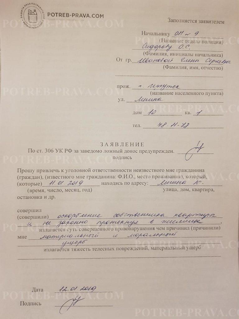 Пример заполнения заявления в Полицию на УК