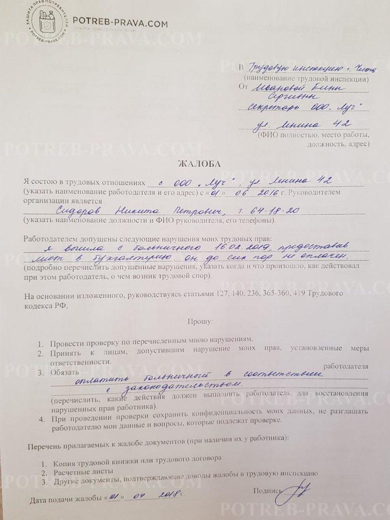 Пример заполнения жалобы в Трудовую инспекцию о задержке выплаты по больничному листу