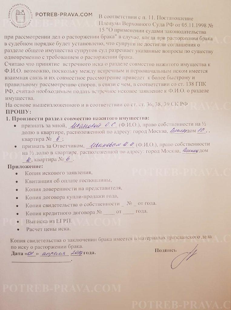 Пример заполнения встречного искового заявления о разделе совместно нажитого имущества (1)