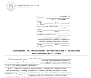 Изображение - Как отменить исполнительный сбор судебных приставов Iskovoe-zayavlenie-ob-obzhalovanii-postanovleniya-o-vzyskanii-ispolnitelnogo-sbora-300x258